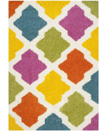 Shag Kids Ivory and Multi 4' x 6' Area Rug Safavieh