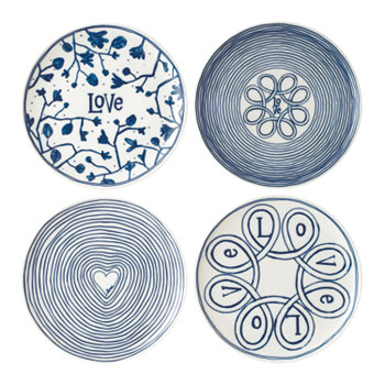 Crafted by Royal Doulton Blue Love Plate, Set of 4 ED Ellen DeGeneres