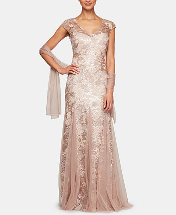Embellished-Lace Embroidered Illusion Gown & Shawl Alex Evenings