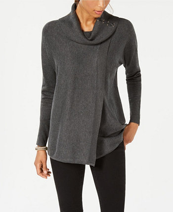 Faux-Wrap Cowl-Neck Sweater, Created for Macy's J&M Collection