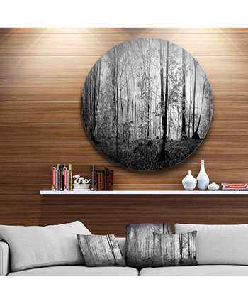 """Designart 'Morning In Thick Fall Forest' Landscape Round Circle Metal Wall Art - 23"""" x 23"""" Design Art"""