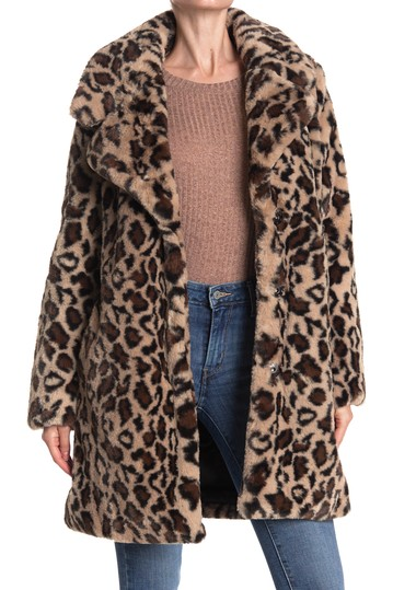 Leopard Print Faux Fur Coat Laundry by Shelli Segal