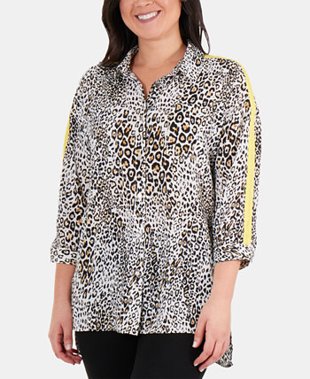 Plus Size Racing-Striped High-Low Blouse NY Collection