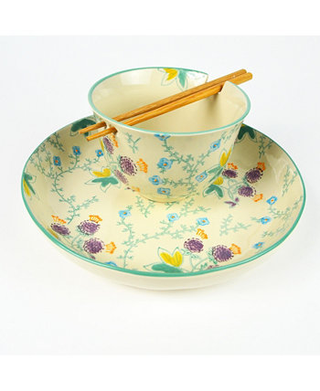 Ella Ramen Bowl and Dinner Bowl Set in Aqua Euro Ceramica