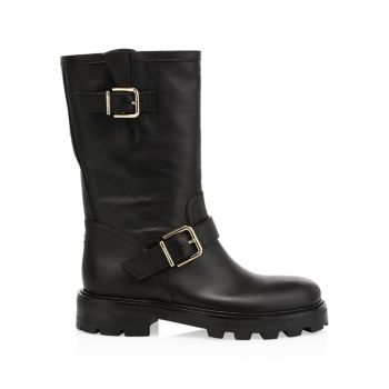 Biker II Leather Mid-Calf Boots Jimmy Choo