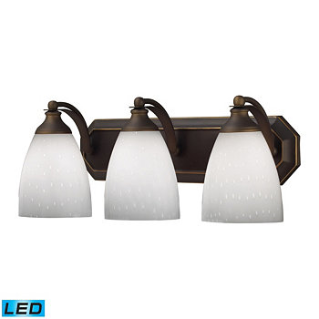 3 Light Vanity in Aged Bronze and Simply White Glass - LED, 800 Lumens (2400 Lumens Total) with Full Scale Dimming Range ELK Lighting