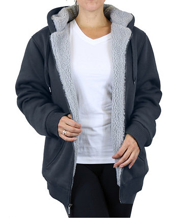 Women's Loose Fit Sherpa Lined Fleece Zip-up Hoodie Galaxy By Harvic