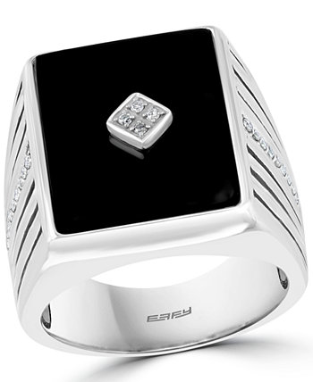 EFFY® Men's Onyx & Diamond (1/6 ct. t.w.) Ring in Sterling Silver EFFY Collection