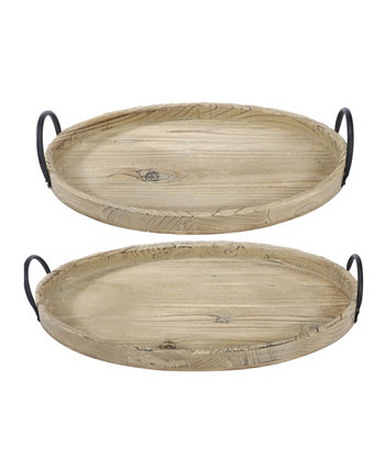 Farmers Market Wooden Trays, Set of 2 AB Home