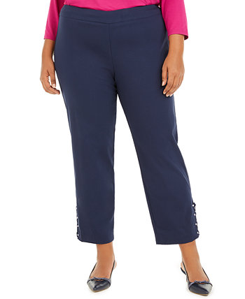 Plus Size Ankle-Laced Pull-On Pants, Created for Macys J&M Collection