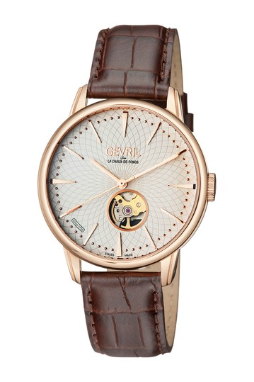 Men's Mulberry Swiss Automatic Embossed Leather Strap Watch, 41mm Gevril