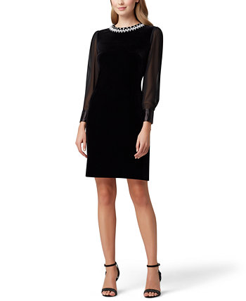 Velvet Beaded Sheer-Sleeve Sheath Dress Tahari by ASL