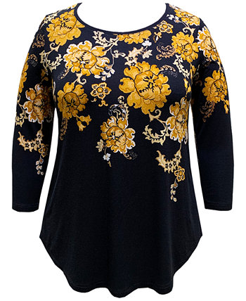 Plus Size Floral-Print 3/4-Sleeve Top, Created For Macy's J&M Collection