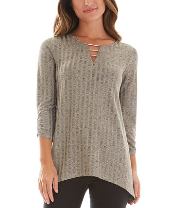 Juniors' Embellished Asymmetrical Top BCX