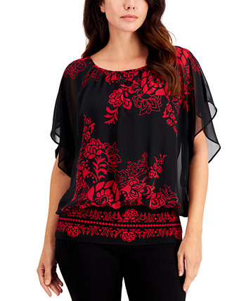 Printed Flutter-Sleeve Top, Created for Macy's J&M Collection