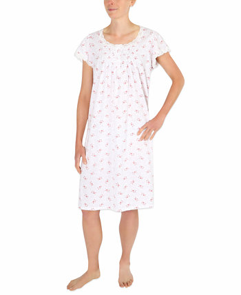 Floral-Print Knit Nightgown Miss Elaine