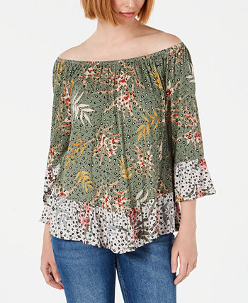 Petite Printed Off-the-Shoulder Top, Created for Macy's Style & Co