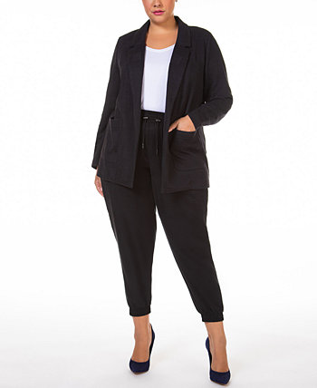 Plus Size Leopard-Print Open-Front Blazer Black Tape
