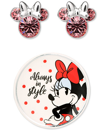 Minnie Mouse Clear Crystal Stud in Sterling Silver with Bonus Trinket Dish Disney
