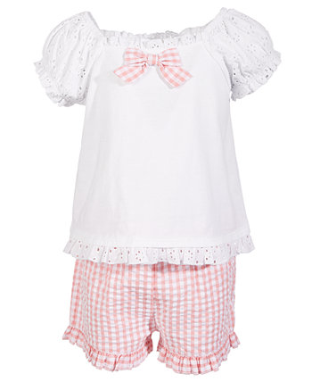 Toddler Girls 2-Pc. Lace Top & Gingham Shorts Set, Created for Macy's First Impressions