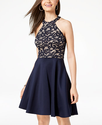 Juniors' Strappy Lace Halter Fit & Flare Dress B Darlin