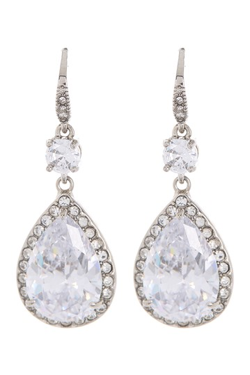 Rhodium Plated Cubic Zirconia Teardrop Shaped Drop Earrings Rivka Friedman
