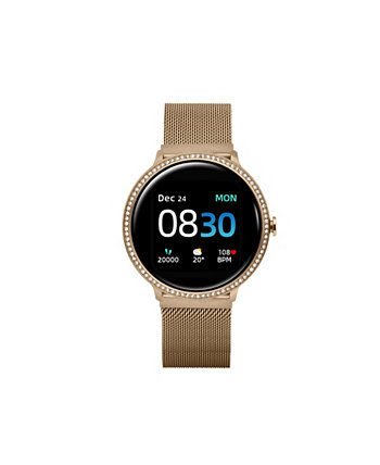 Women's Sport's Gold Tone Stainless Steel Mesh Strap Smart Watch 43.2mm ITouch