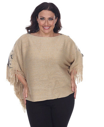 Plus Size Eagle Wings Poncho White Mark