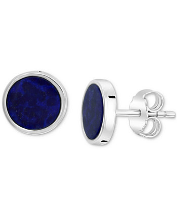EFFY® Men's Lapis Lazuli Stud Earrings in Sterling Silver (Also in Malachite) EFFY Collection
