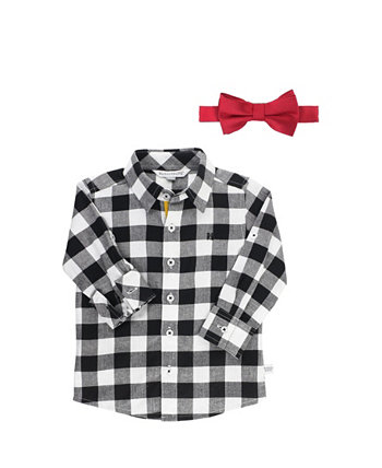 Baby Boys Long Sleeve Button Down Shirt and Bow Tie Set RuggedButts