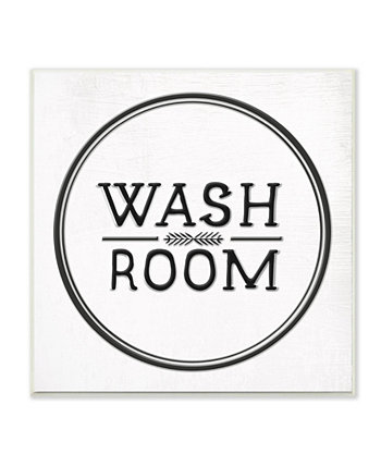 """Wash Room Black and White Faux Aluminum Sign Look Typography Wall Plaque Art, 12"""" L x 12"""" H Stupell Industries"""