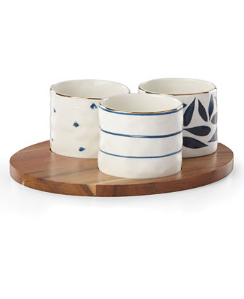 Blue Bay  Set/3 Round Snack Bowls with Wood Tray Lenox