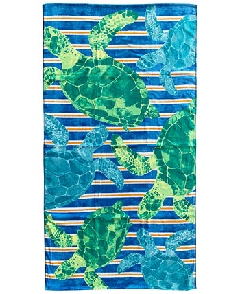 Watercolor Turtle Velour Beach Towel, Created for Macy's Martha Stewart Collection