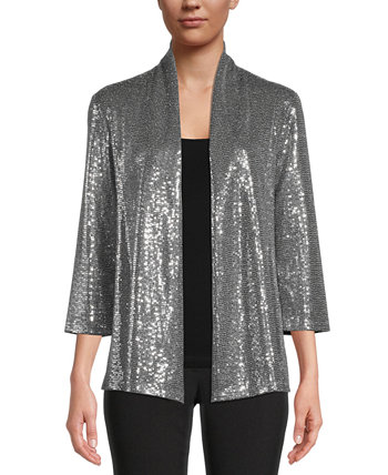 Sequined Open-Front Jacket Kasper