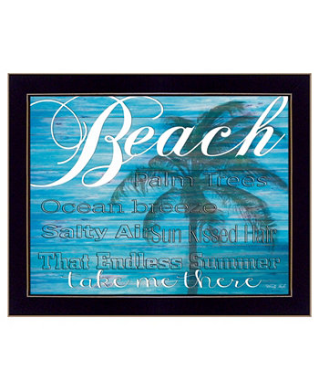 "Beach - Take Me There By Cindy Jacobs, Printed Wall Art, Ready to hang, Black Frame, 18"" x 14"" Trendy Décor 4U"