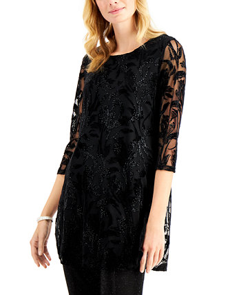 Printed Shimmering Velvet Burnout Tunic Top, Created for Macy's Alfani