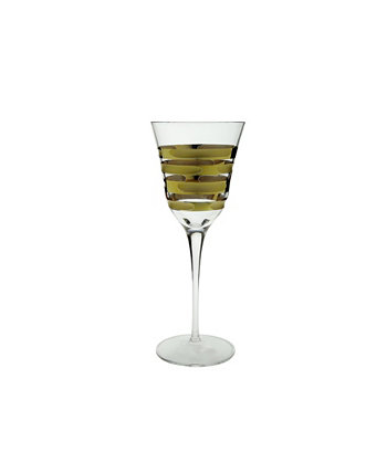 Water Glass with 14K Gold Brick Design, Set of 6 Classic Touch