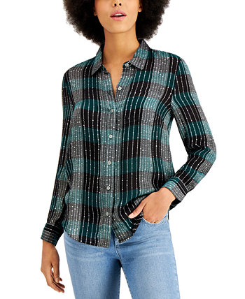 Petite Sparkle Plaid Shirt, Created for Macy's Style & Co
