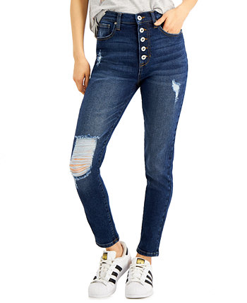Juniors' Distressed High-Rise Button-Fly Skinny Jeans Celebrity Pink