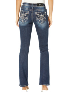 Mid-Rise Bootcut with Cross Embellishment in Dark Blue Miss Me