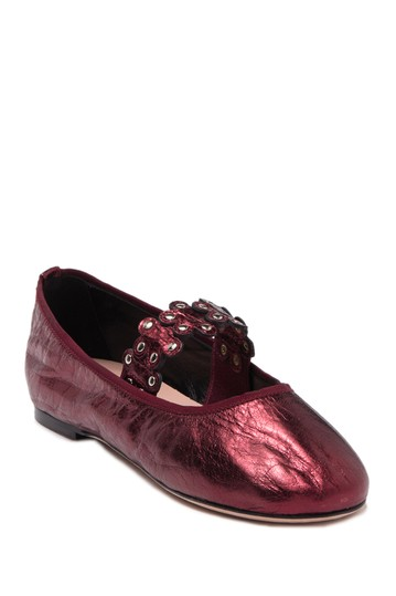 Studded Metallic Leather Ballet Flat RED VALENTINO
