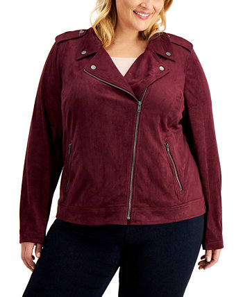 Plus Size Faux-Suede Moto Jacket, Created for Macy's Style & Co