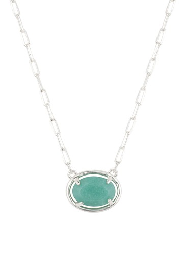 Amazonite Oval Stationed Stone Necklace with Paperlink Chain LA Rocks