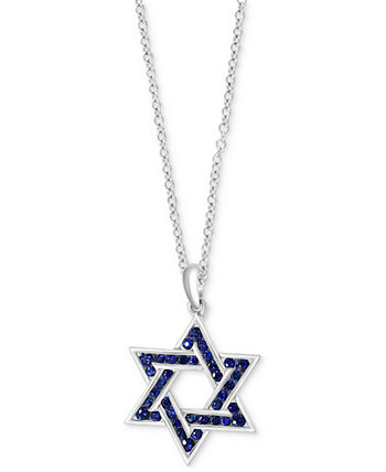 "EFFY® Men's Sapphire Star of David 22"" Pendant Necklace (1 ct. t.w.) in Sterling Silver EFFY Collection"