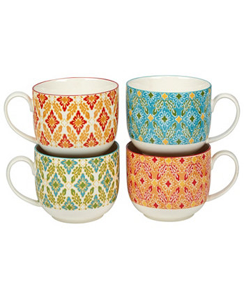 Damask Floral Set of 4 Jumbo Cups Certified International
