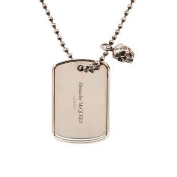 Identity Dog Tag Beaded Pendant Necklace Alexander McQueen