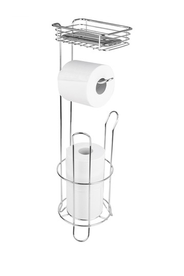 Free Standing Dispensing Toilet Paper Holder with Built-in Accessory Tray HOME BASICS