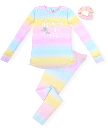Little Girl's Cosy Tight Fit Pajama Set Ombre Print with Dreams Screen and Scrunchie Max & Olivia