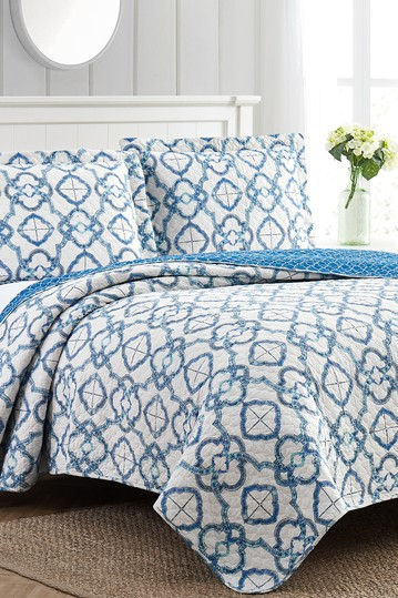 2-Piece Enzyme Washed Quilt Set Mosaic Lattice - Twin Modern Threads