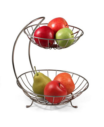 Diversified Yumi 2-Tier Server Sturdy Steel Stacked Fruit Bowls Spectrum